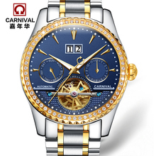 Carnaval tourbillon automático reloj mecánico reloj militar de moda de acero completo hombres luminosos impermeables de lujo famosa marca de relojes
