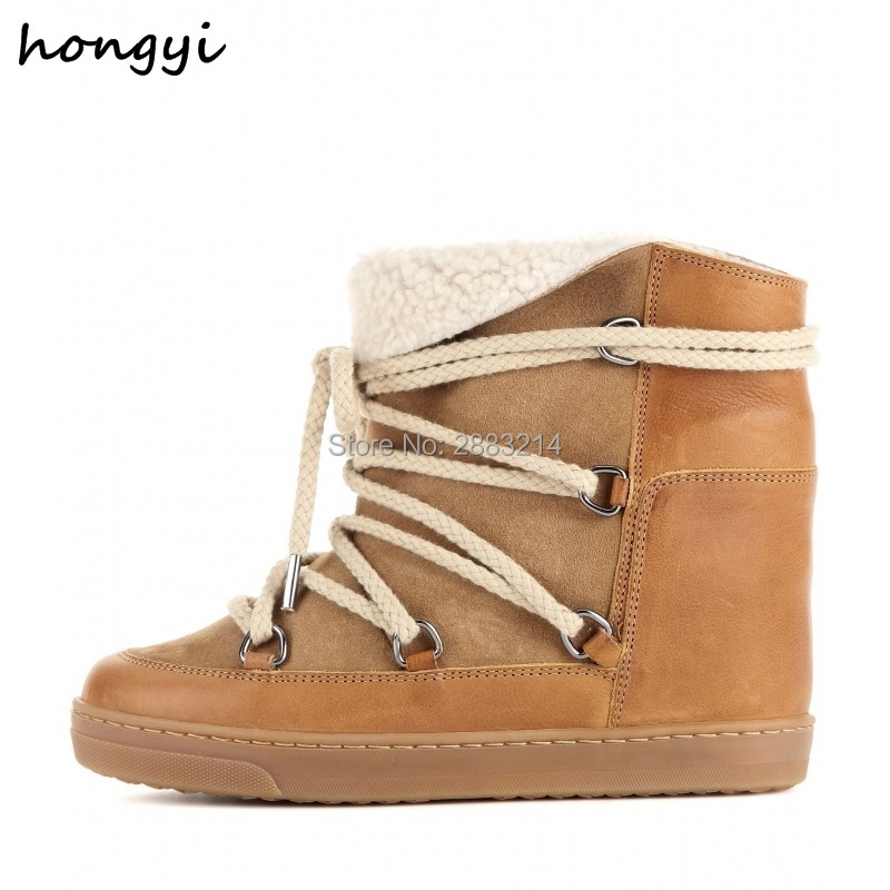 88565db954f4 Detail Feedback Questions about Hidden Wedge Fur Winter Warm Snow Boots  Shoes Round Toe Height Increasing Lace Up Ankle Boots Shoes Brown Black  Platform ...