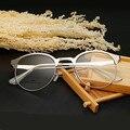 2016 coreano moda mulheres marca Designer de Metal Cat Eye óculos de armação homens rodada do Vintage óculos de miopia quadros prescrição
