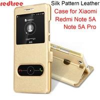 REDTREE Silk Pattern Case for Xiaomi Redmi Note 5A View Window Flip Cover Smartphone Leather Case for Redmi Note 5A Pro Xiomi