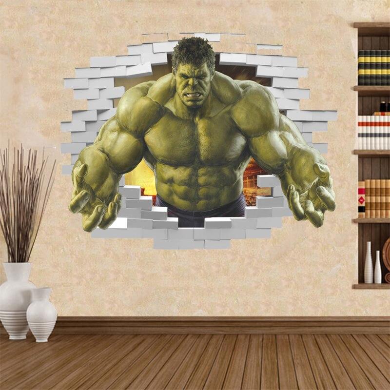 violent Avengers Hulk Peel through wall sticker for kids rooms home decor 3d effect poster cartoon broken wall decals boy's gift