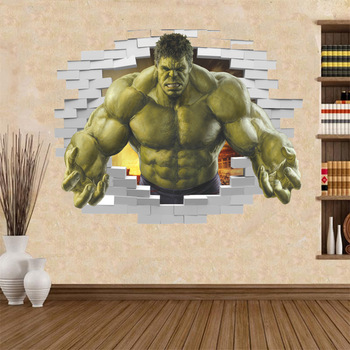 violent Avengers Hulk Peel through wall sticker for kids rooms home decor 3d effect poster cartoon broken wall decals boy's gift