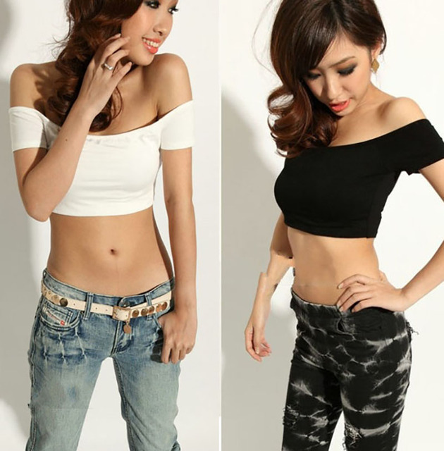 New Promotion Women T-Shirt Off Shoulder Summer Stretch Sexy Club Wrapped Crop Top Vest Tank Sexy T Shirt CL0417