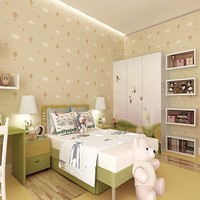 Free Shipping Green Nonwovens Breathable Wallpaper Warm Kids Room Cute Pink Strawberry Parachute Wallpaper