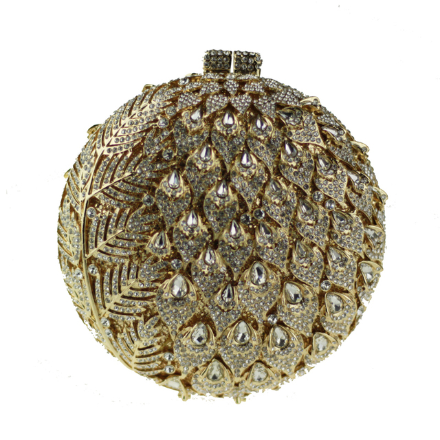 2017 Beta & Tiara Crystal Evening Bags for Women Famous Designer Luxury Handbags Golden Clutch Metal Case Round Crystal Clutch