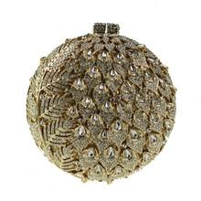 2017 Beta & Tiara Kristall Abendtaschen für Frauen Berühmten Designer Luxus Handtaschen Goldenen Kupplung Metallgehäuse Runde Kristall Kupplung