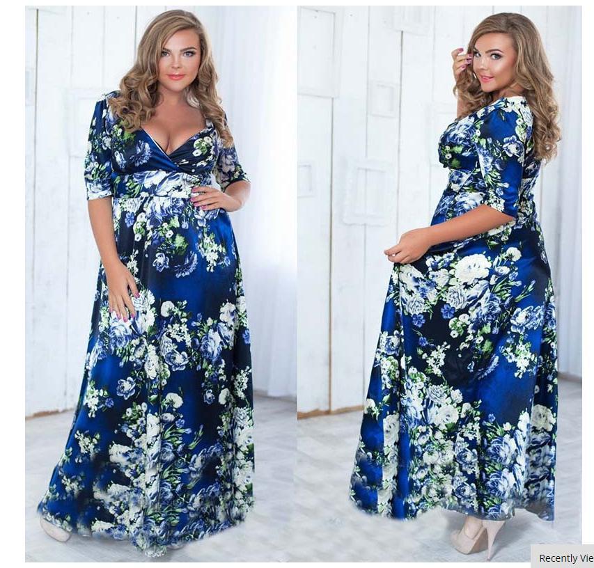 XXL-4XL 5XL 6L Large Size Autumn Dress Women Flower Print V-neck A-line  Maxi Long Dresses Plus Size Clothing XXXL XXXXL XXXXXL 10248b54f919