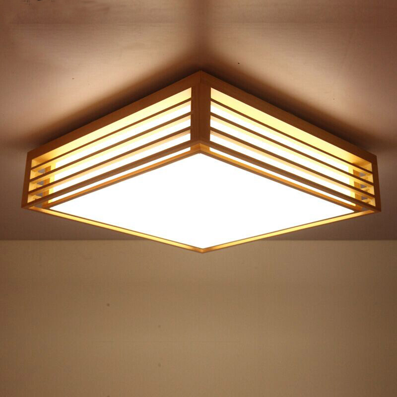 Japanese Style Bedroom Living Room Ceiling Light Wood Led New Chinese Modern Minimalist Square Art Ceiling