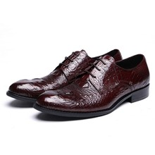 Crocodile Grain Black / wine red oxfords shoes formal mens dress shoes genuine leather business shoes man wedding shoes