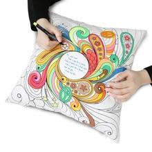 El graffiti DIY decorativa throw pillow cojín sin interior nuevo diseño secret garden 100% algodón con tela color pluma regalos