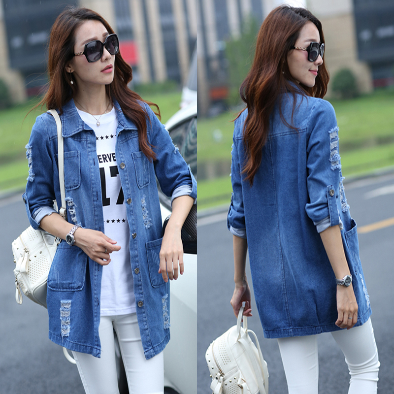 Spring and Autumn Women's new fashion XL S-5XL loose cotton denim   trench   coat long-sleeved denim   Trench   casual wear