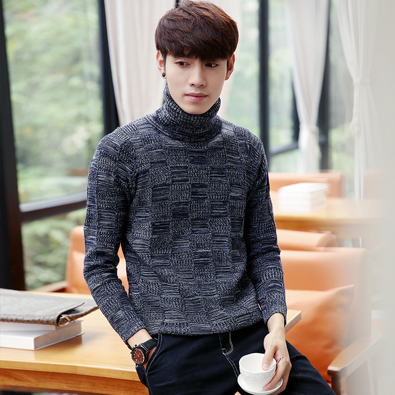 Autumn and winter downneck font b men s b font casual young Korean students bottoming font