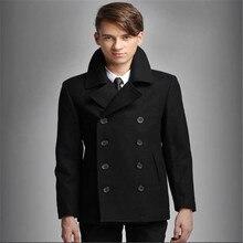 Мужские Бушлат Черный Двойной Брестед Шерсть Peacoat Slim Fit Зима Теплая Мужчины Повседневная Пальто Плащ S-XXL A750