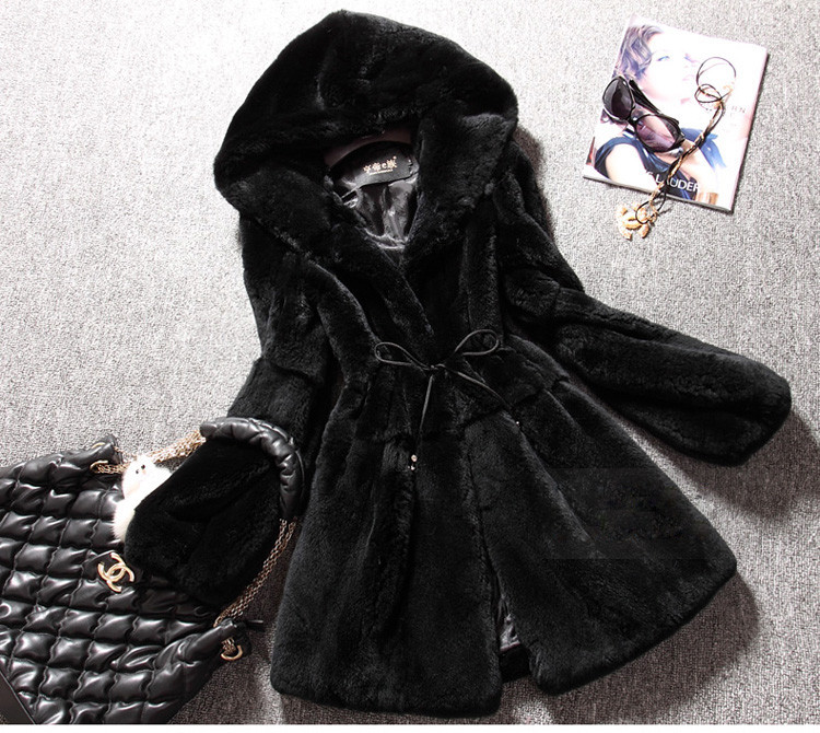 Free Shipping Genuine real natural full pelt Rex Rabbit Fur Coat Women's Winter Fashionable New Design Overcoat