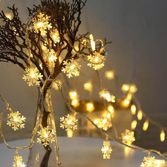 Led Snowflake Christmas Fairy String Lights Wedding Xmas Party Decor Lamp Outdoor