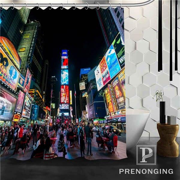 City Night View Shower Curtain Fabric Waterproof