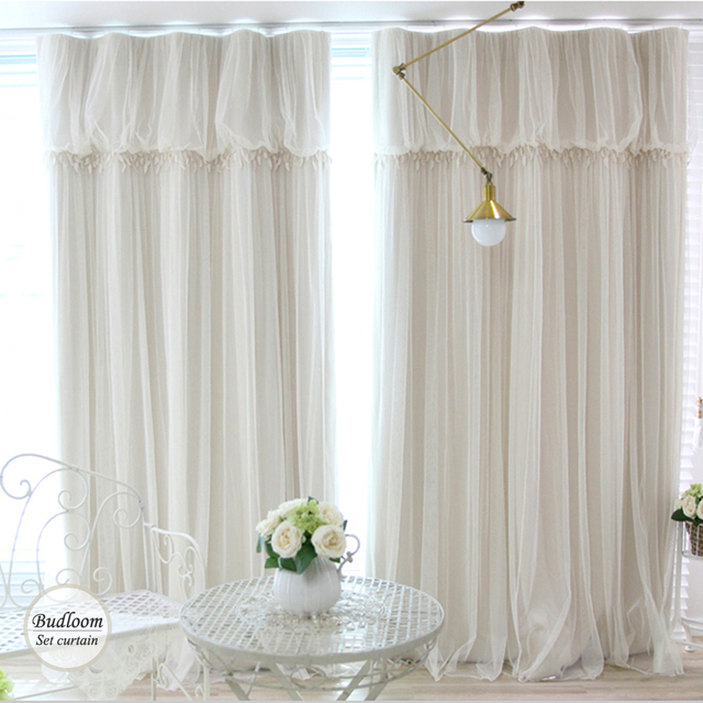 Modern Korean Style Blackout Curtains For Living Room Luxury Ivory Green Blue Pink Curtian Voile