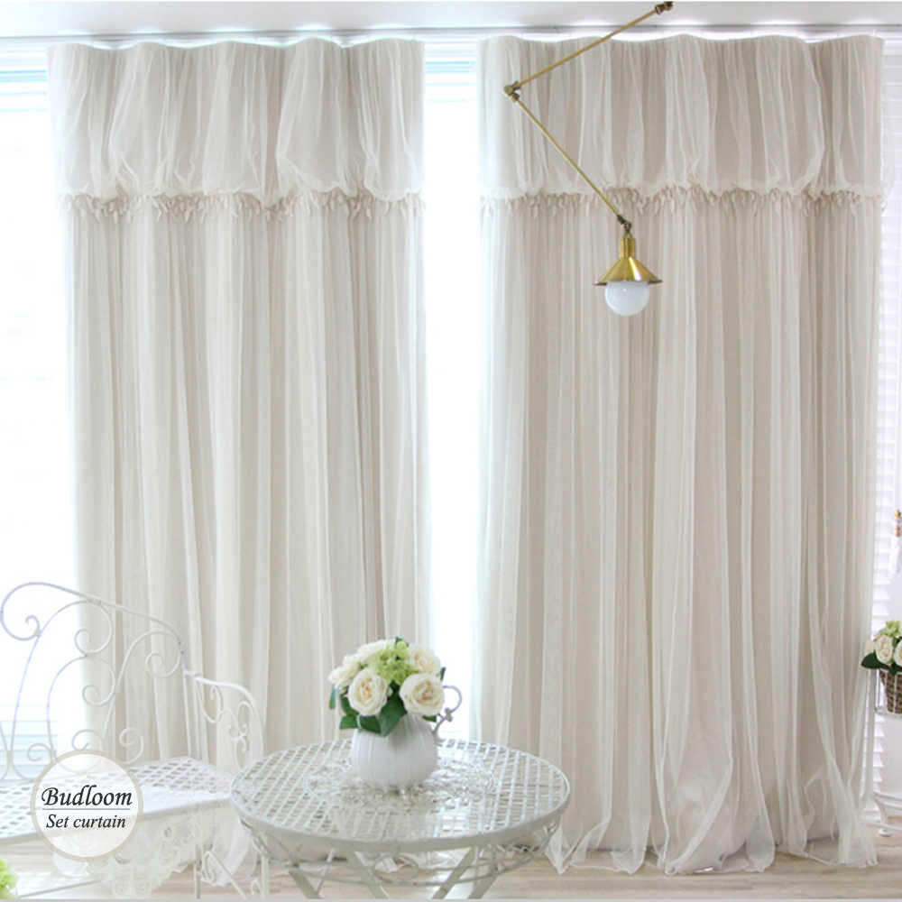 Modern Korean Style Blackout Curtains For Living Room Luxury Ivory Green Blue Pink Curtian+voile Sheer a lot/set Window Drapes