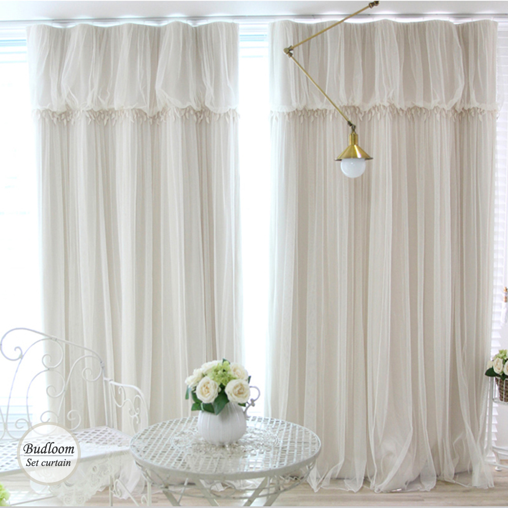 Modern Korean Style Blackout Curtains For Living Room Luxury Ivory Green  Blue Pink Curtian+voile