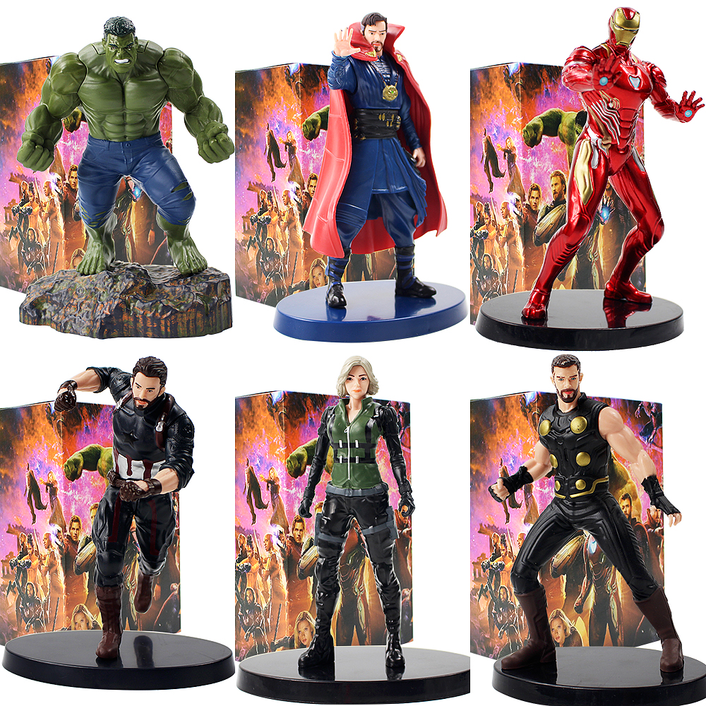 15-20cm Avengers Infinity War Iron Man Black Widow Thor Hulk Captain America Doctor Strange PVC Figure Collectible Model Toy