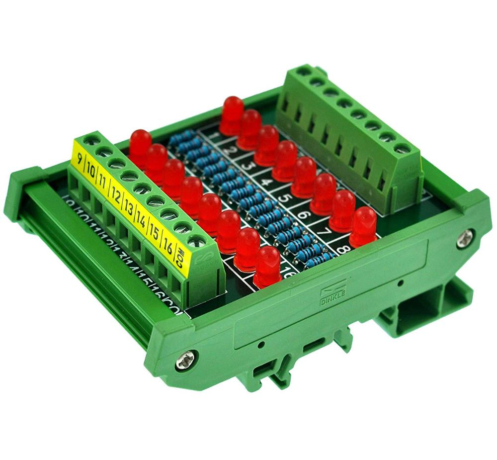 CZH-LABS DIN Rail Mount 16 LEDs Indicator Light Module, Support 5~50VDC Common Positive/Negative
