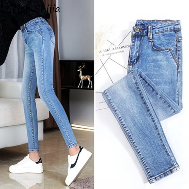 New Jeans Woman Blue Black High Waist Skinny Elastic Slim Jeans For Woman Summer Autumn Ladies Trousers Denim Pants Plus Size