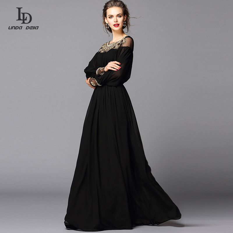 New 2015 Black Dress Sexy Fashion Women Luxury Beading Diamonds Floor Length  Maxi Long Party Dresses In Dresses From Womenu0027s Clothing U0026 Accessories On  ...
