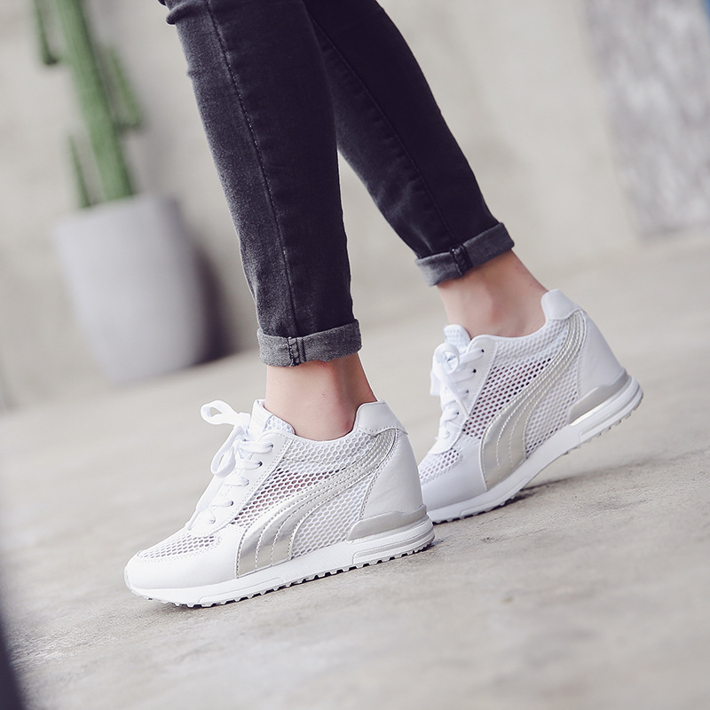 2018 new womens summer wild increase comfortable breathable mesh non-slip white shoes.2018 new womens summer wild increase comfortable breathable mesh non-slip white shoes.