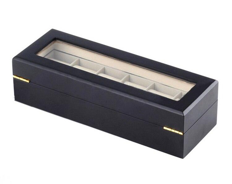6 Slots Holz Uhr Display Box Schwarz MDF Uhr Veranstalter Fall Neue - Uhrenzubehör - Foto 5