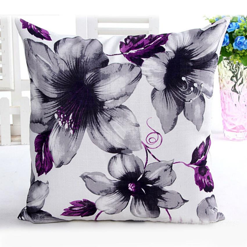MUQGEW Flowers Pattern Sofa Waist Throw Cushion Case For Home  Sofa Cushions Cojines Decorativos Almofadas Para Sierkussen