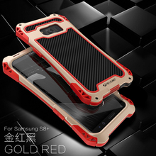 R JUST Voor Samsung Galaxy S8 Plus Beschermende Carbon Fiber Telefoon Metal Case Cover Anti klop Gevallen coque capa Voor samsung S8 Plus
