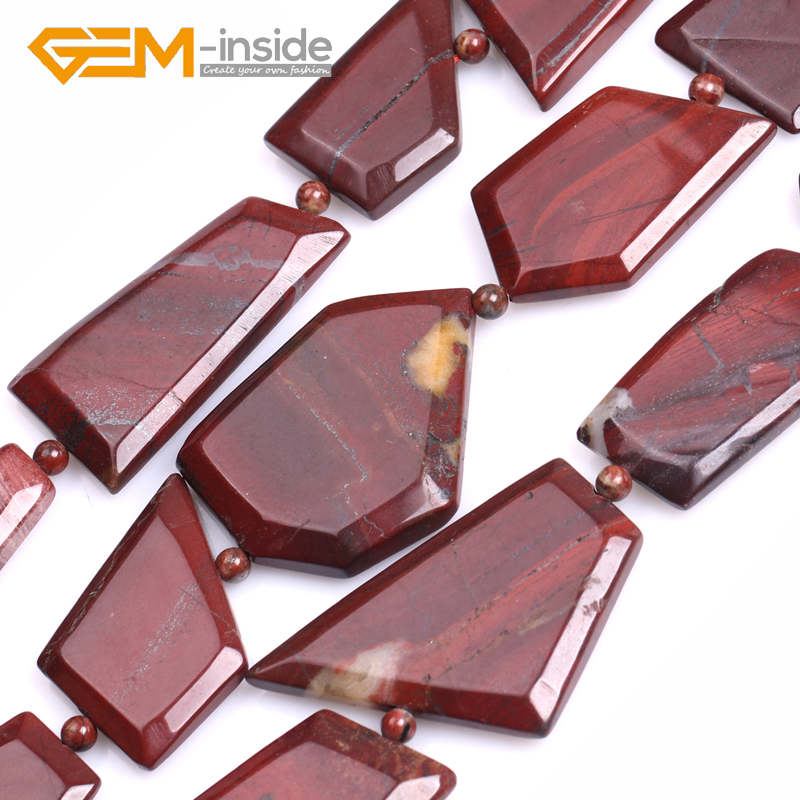Gem-inside 25x30mm Freefrom Red Jaspe R Beads Natural Stone Beads Loose Bead For Jewelry Making Strand 15 Inches DIY !