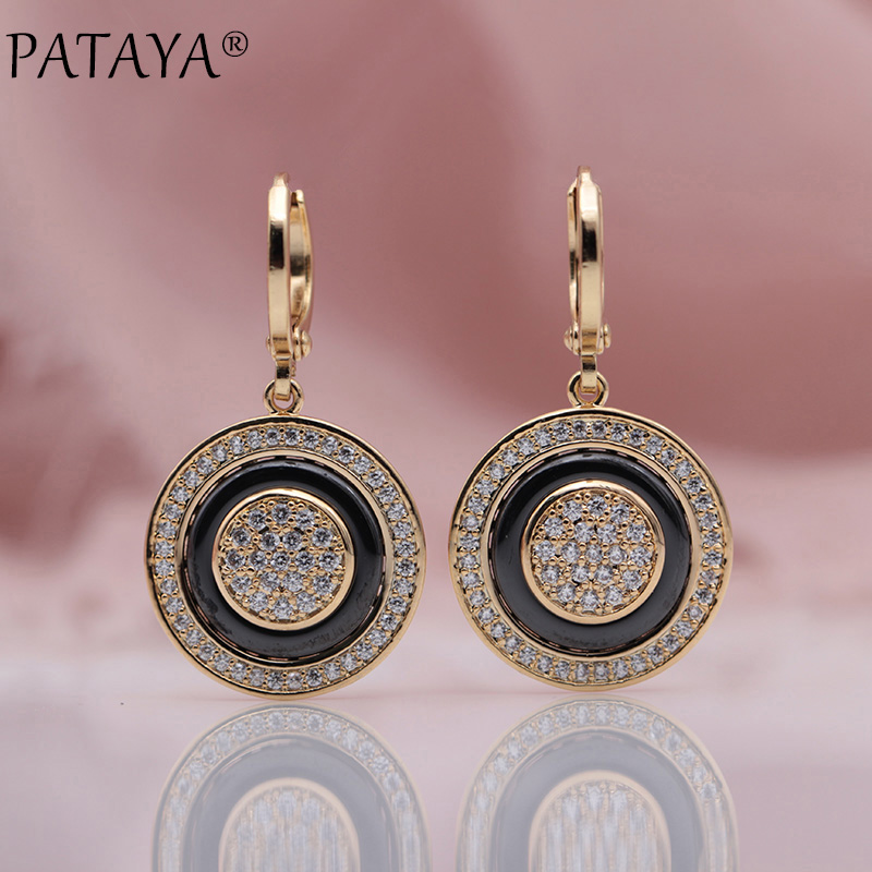 PATAYA New Round Micro Wax Inlay Natural Zircon Black Ceramic Long Dangle Earrings 585 Rose Gold Women Wedding Fine Cute Jewelry yoursfs dangle earrings with long chain austria crystal jewelry gift 18k rose gold plated