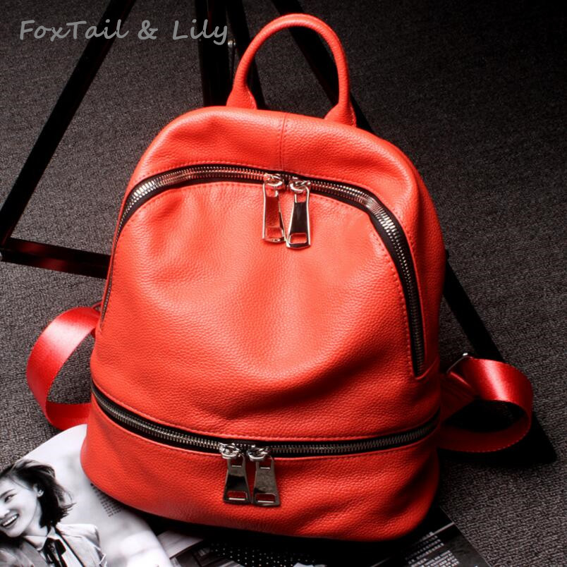FoxTail & Lily New Arrival Fashion Female Backpack 100% Genuine Leather Women Schoolbag Soft Cow Leather Designer Shoulder Bags marxism and darwinism