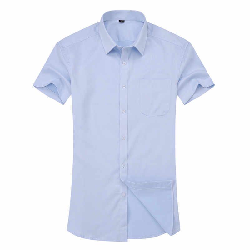 2019 男性の半袖シャツツイルホワイトブルーピンクブラック男性シャツ男性のため社会ブランドシャツ 4XL 5XL 6XL 8XL