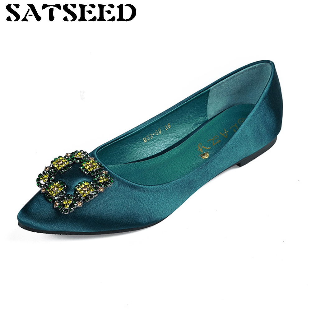 New Spring Summer 2017 Shoes Crystal Flat Pointed Toe Green Diamond Buckle Europe Shallow Mouth Slip Satin Shoes Casual new 2017 spring summer women shoes pointed toe high quality brand fashion womens flats ladies plus size 41 sweet flock t179