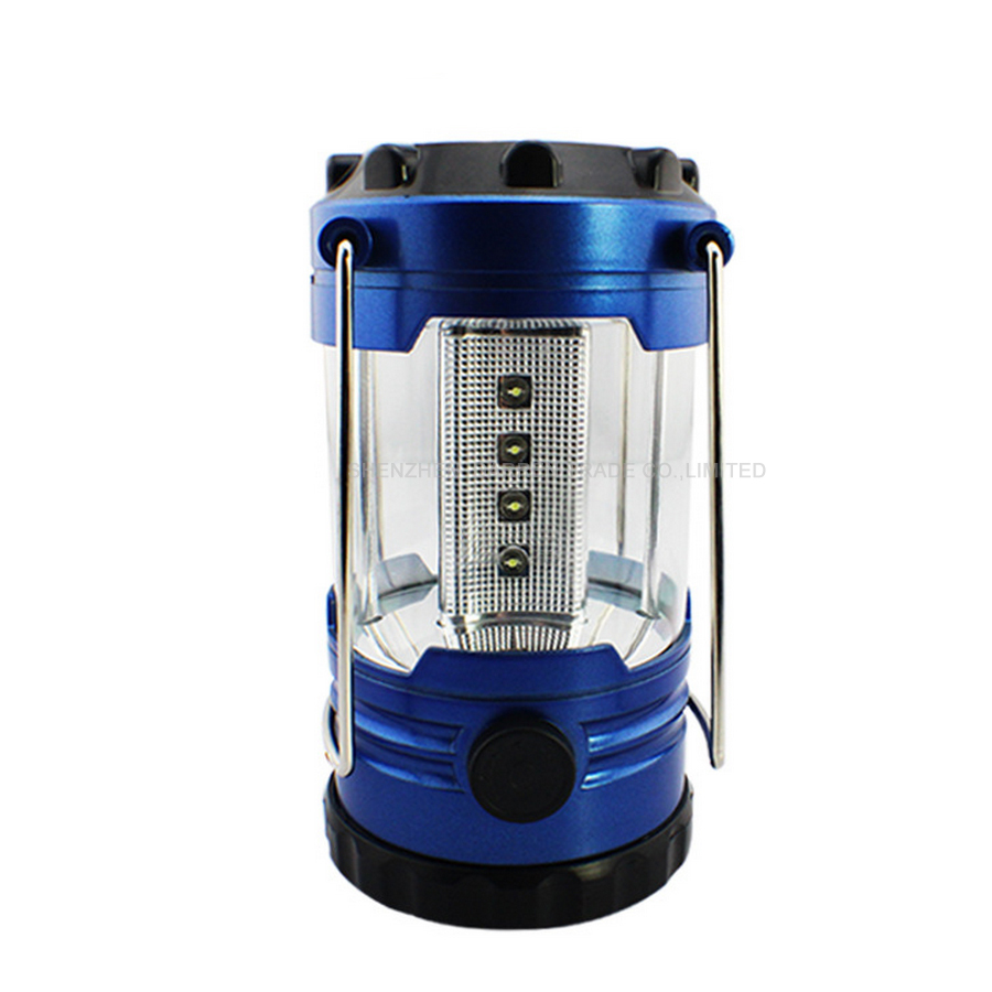 12 LED Portable Camping Camp Lantern Light Lamp with Compass-Blue