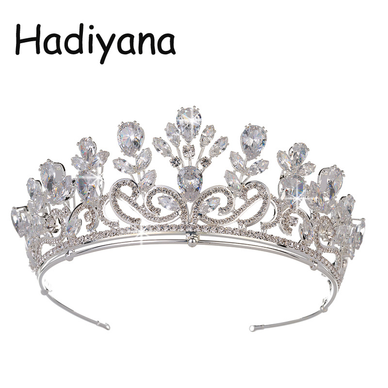 Hadiyana Fashion Floral Design Bridal Crown Shine Zircon Princess Jewelry Headwear Hairband Pretty Wedding Party Crowns