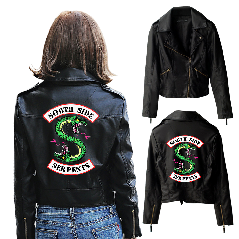 HTB1cZ.YQQzoK1RjSZFlq6yi4VXaD New Riverdale PU Printed Logo Southside Riverdale Serpents Jackets Women Riverdale Serpents Streetwear Leather Jacket Custom