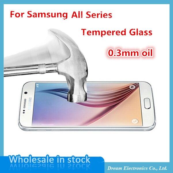 imágenes para 20 unids/lote Ultra-delgado de 0.3mm de Cristal Templado de Cine Para Samsung Galaxy S6 S5 S4 S3 A3 J5 G530 Arco Protector de Pantalla Anti Shatter cine