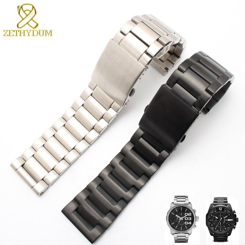 Plain End Stainless Steel Bracelet Solid Metal Watchband 24 26 28mm Watch Strap For Diesel DZ4209 DZ4215 DZ1844 Watches Band