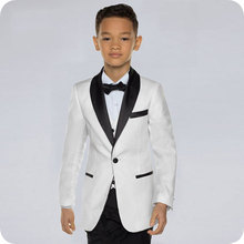 Custom White Baby Boys Suits Costume for Boy 2019 Kids Blazers Boy Suit Black Shawl Lapel Formal Wedding Wear Children Clothing недорого