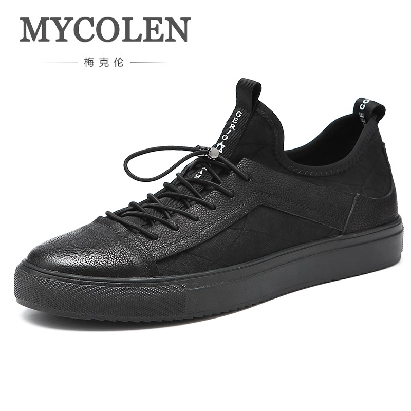 MYCOLEN 2018 Fashion Men Shoes Lace Up Breathable Trainers Casual Sneakers Spring Autumn Black Hard-Wearing Tide Men Shoes 2017 new spring autumn men casual shoes breathable black high top lace up canvas shoes espadrilles fashion white men s flats