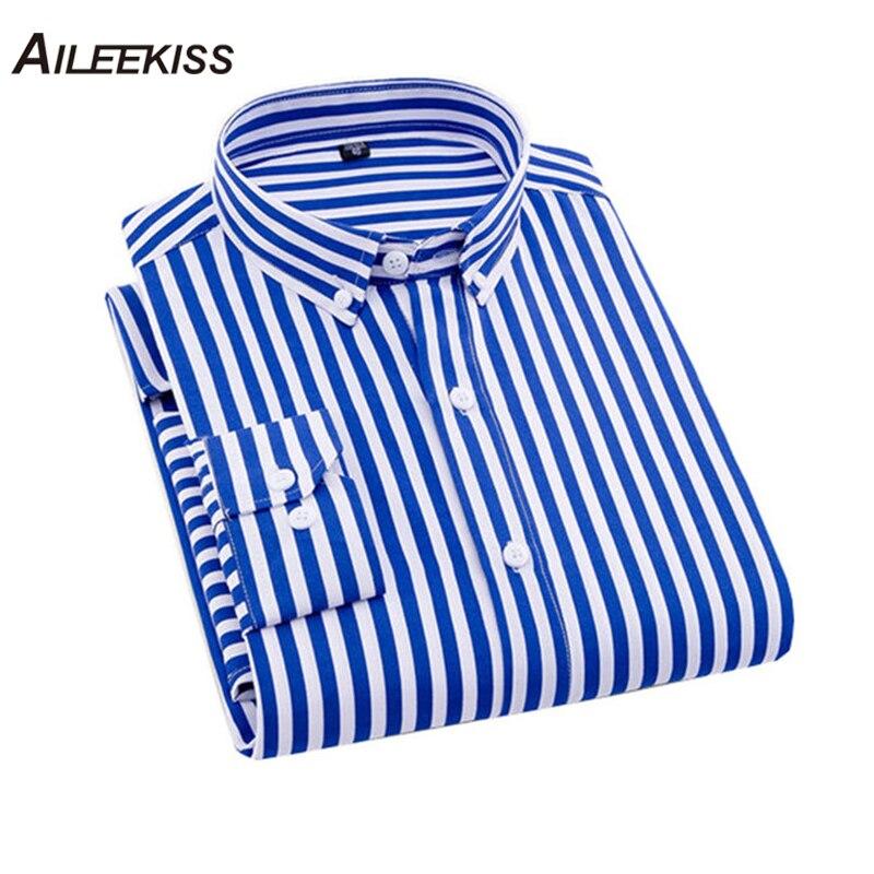 AILEEKISS 2019 Brand New Camisa Masculina Mens Shirts Male Casual Social Shirt Striped Long Sleeves Slim Fit 4XL 12colors XT717