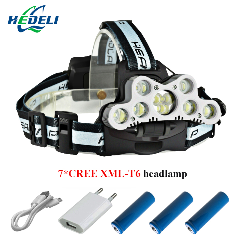 18000 lumen led headlight super high brightness waterproof USB charging cree xml t6 headlight power display 3*18650 battery