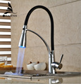Black and Chrome Finish Kitchen Sink Faucet Deck Mount Pull Out Dual Sprayer Nozzle Hot Cold Mixer Water Taps GYD-7661