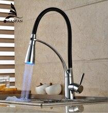 Schwarz und Verchromt Kitchen Sink Wasserhahn Deck Berg Pull Out Dual Sprühdüse Heiß Kalt Mischer Wasserhähne Waschbecken mixerGYD-7661
