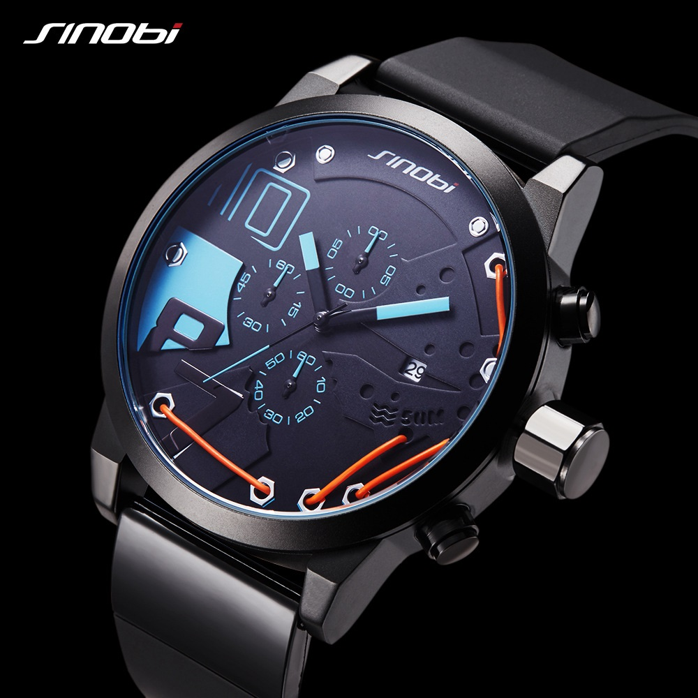 SINOBI Men Fashion Sport Chronograph Silicone Watch Waterproof Top Brand Luxury Men's Watches Casual Quartz Relogio Masculino лампа настольная uniel tld 519 white led 800lm 2700 6400k dimmer