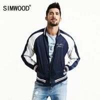 SIMWOOD 2017 Spring Casual Bomber Jacket Men Crane Embroidery Baseball Collar Pilot Coats Brand Clothing WJ1668