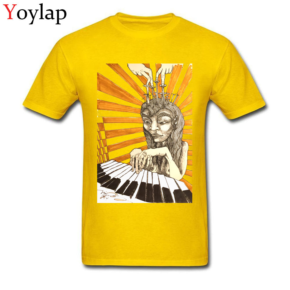 Summer Tops Shirt Newest O-Neck Short Sleeve Player Piano 100% Cotton Adult T-shirts Family Summer Fall Sweatshirts yellow